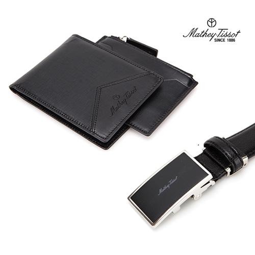 [회원 전용 상품] 메티티솟 지갑벨트 세트05 카드지갑+반지갑+자동벨트 블랙 3종세트