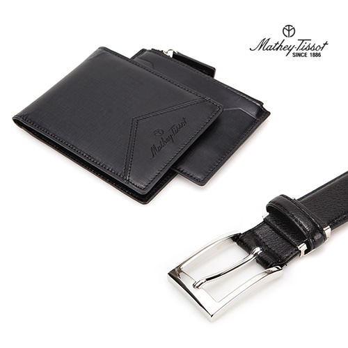 [회원 전용 상품] 메티티솟 지갑벨트 세트06 카드지갑+반지갑+수동벨트 블랙 3종세트